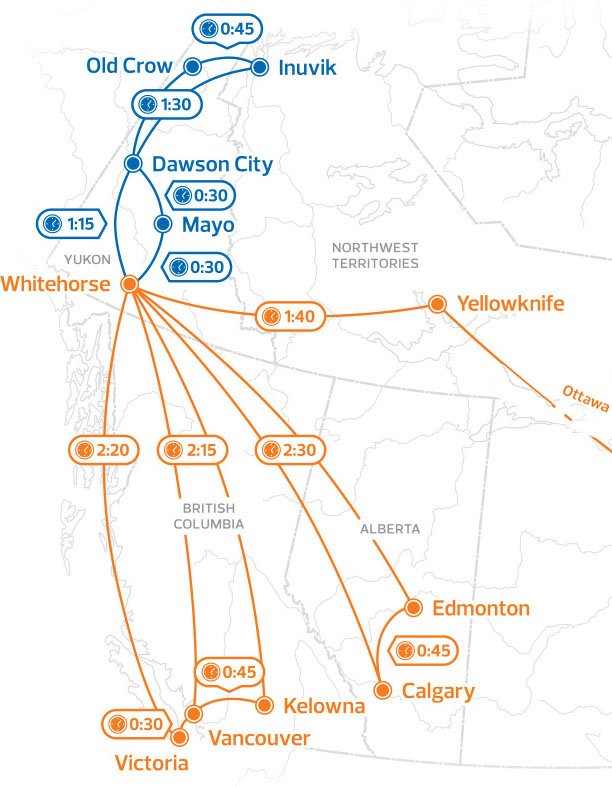 AirNorth map - Nature Tours of Yukon