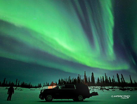 Arctic Winter Road - SelfDrive  - northern lights