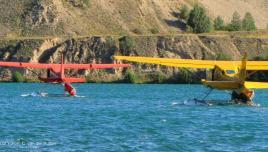 Liard River Yukon, float planes ready to take off