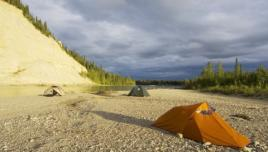 Liard River Yukon, camping in the wilderness