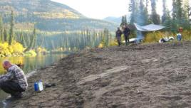 camping at the Big Salmon River, Yukon